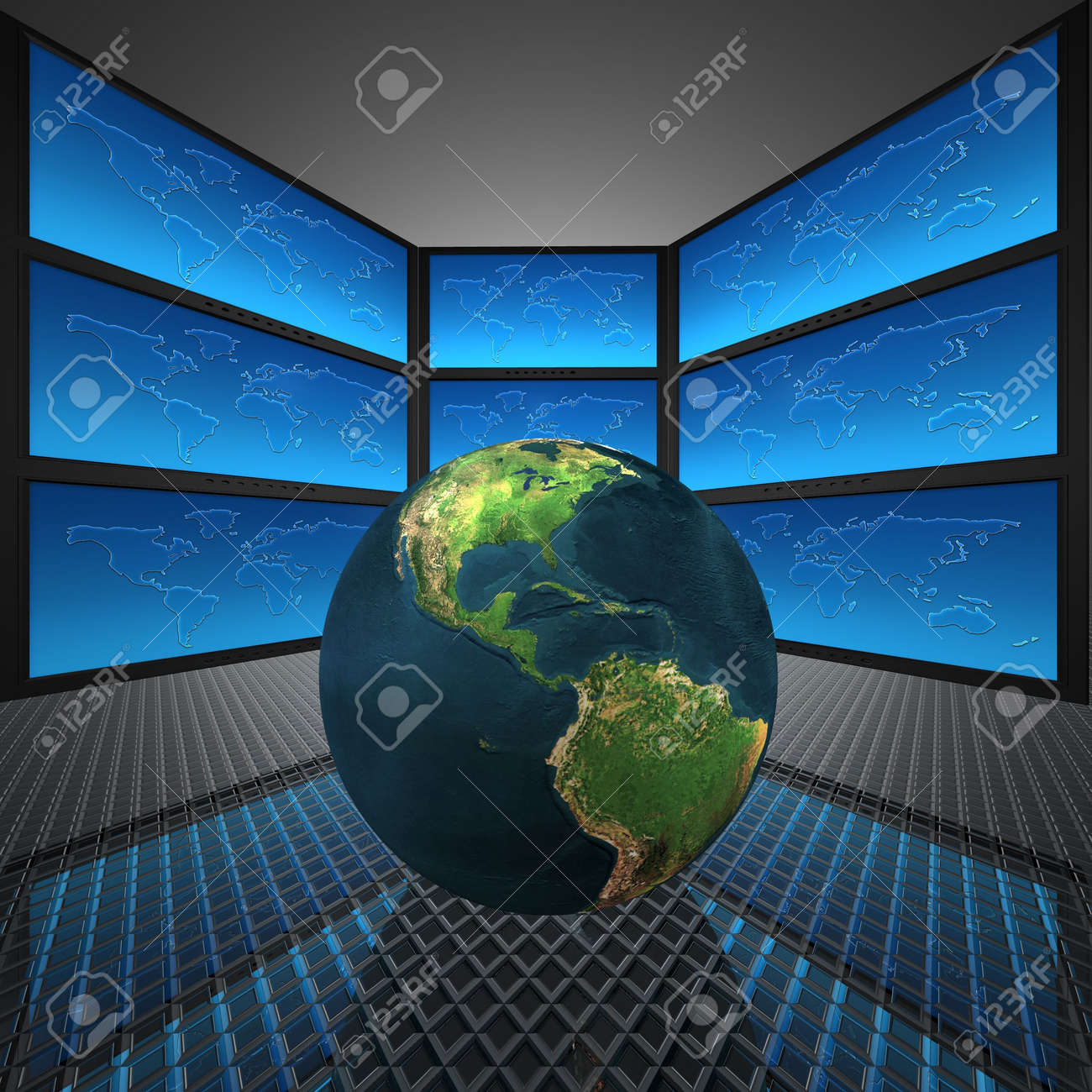 video wall with screens, world Stock Photo - 5750659