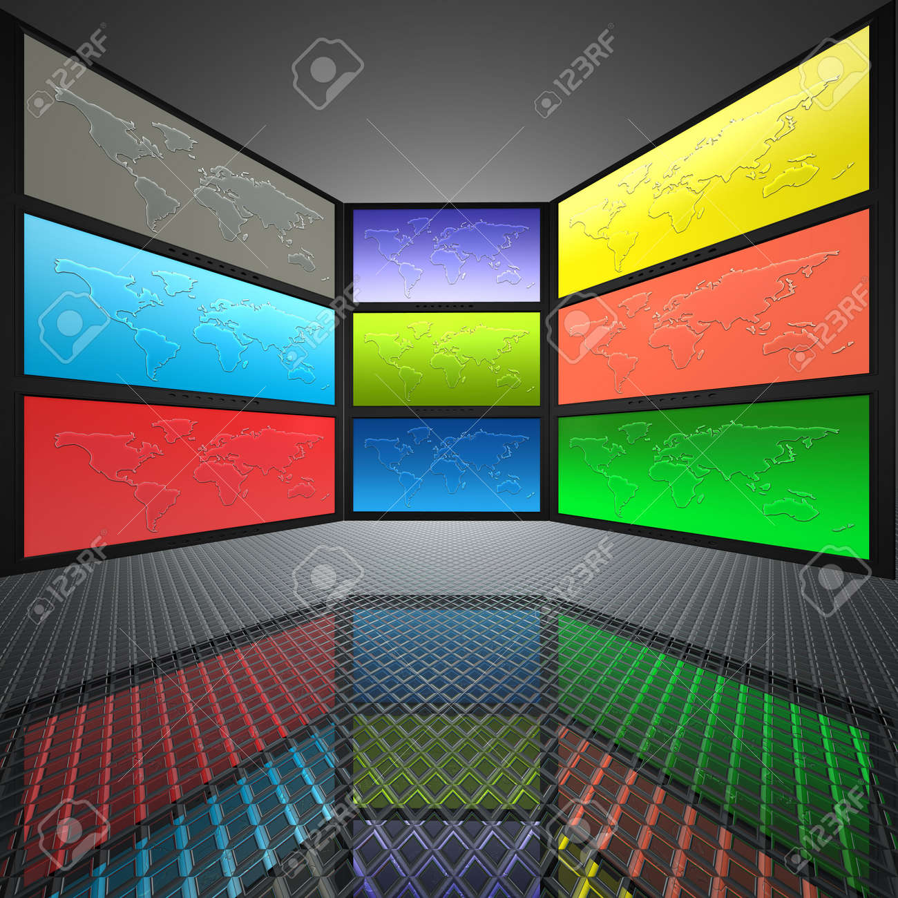 video wall with screens, world map Stock Photo - 5750670