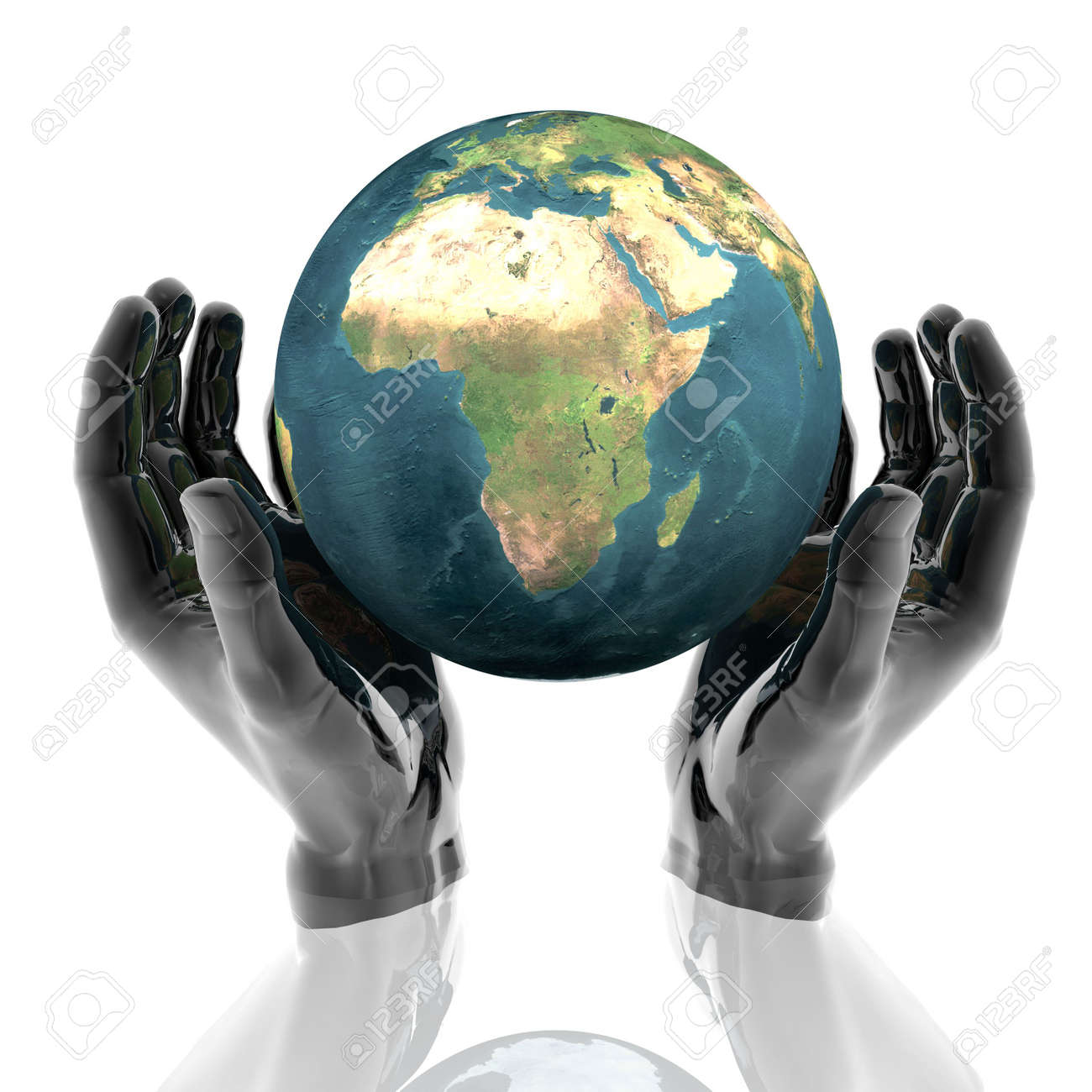 hands with earth with reflection Stock Photo - 5895199