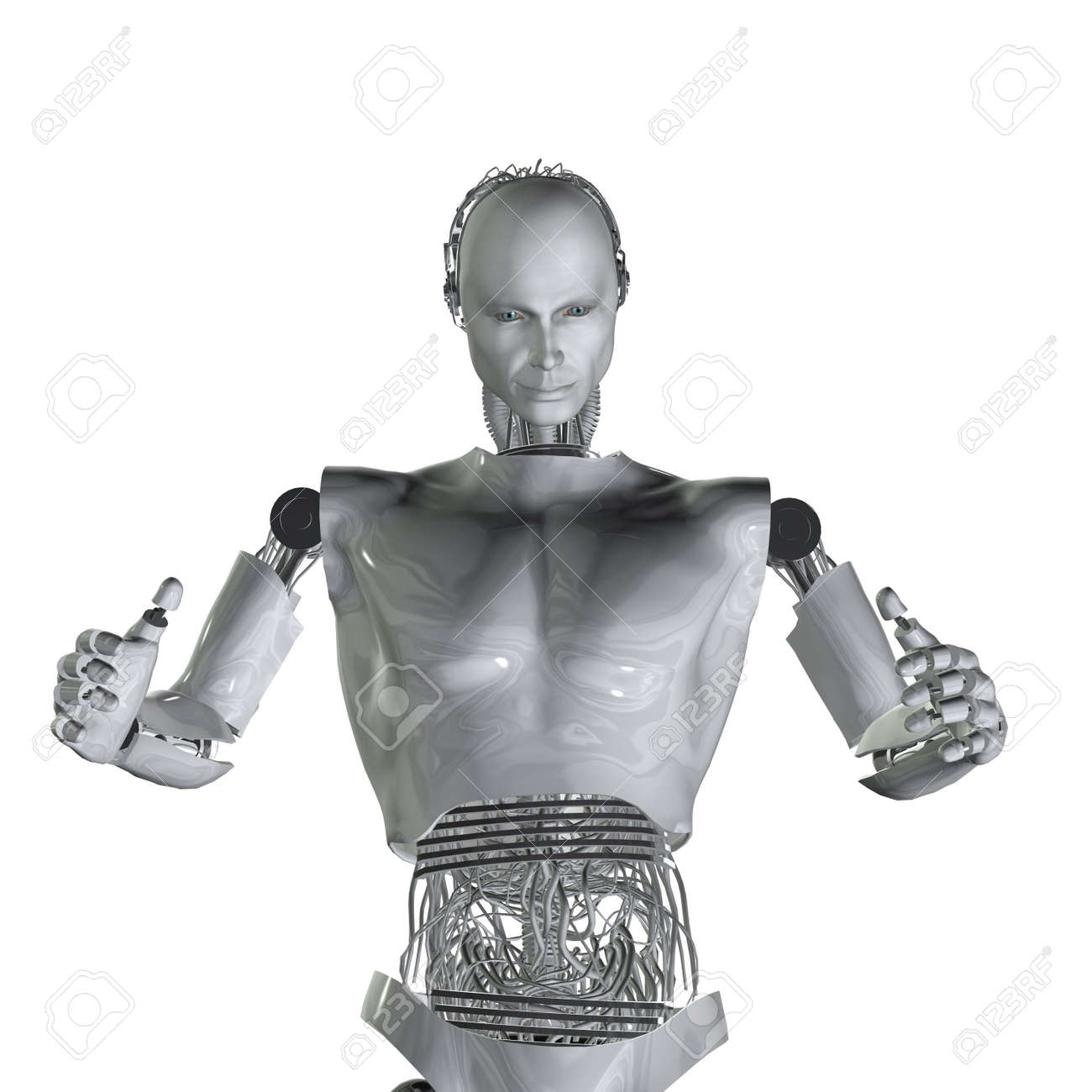 android, cybernetic intelligence machine in 3d Stock Photo - 5943924