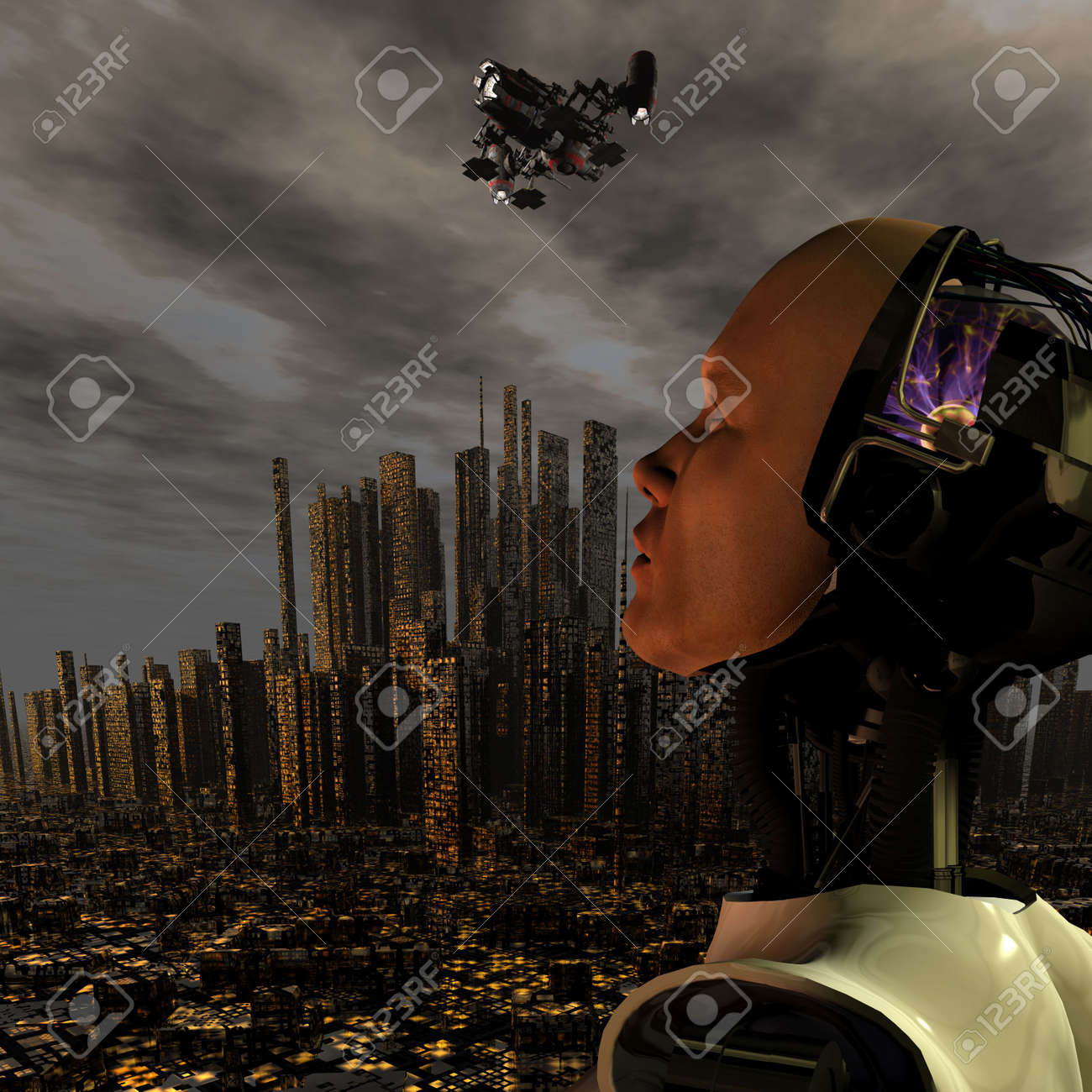 android, cybernetic intelligence machine in 3d Stock Photo - 5943948