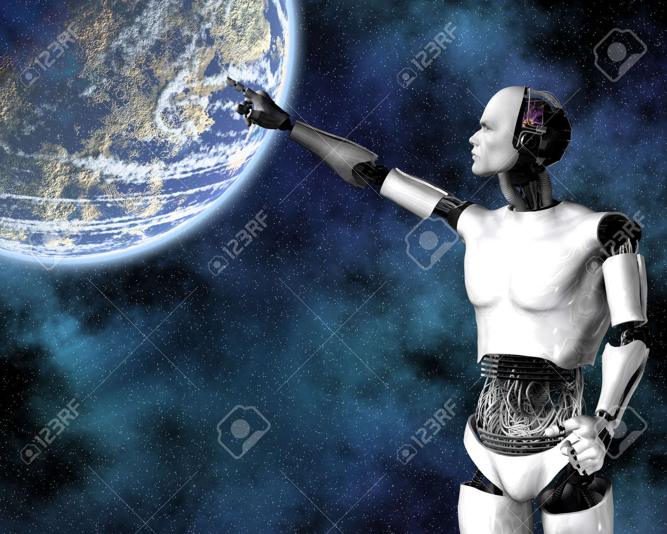 android, cybernetic intelligence machine in 3d Stock Photo - 5943955