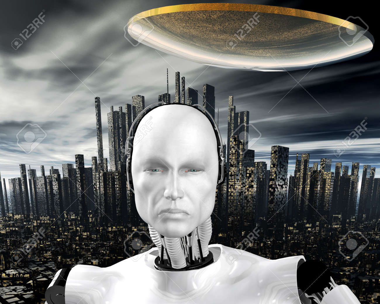 android, cybernetic intelligence machine in 3d Stock Photo - 5943962