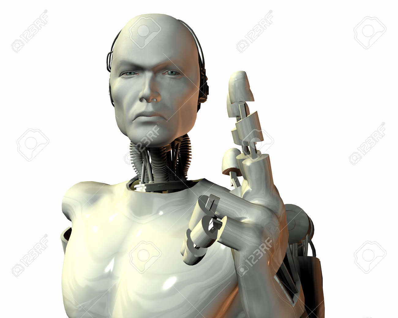 android, cybernetic intelligence machine in 3d Stock Photo - 5943921