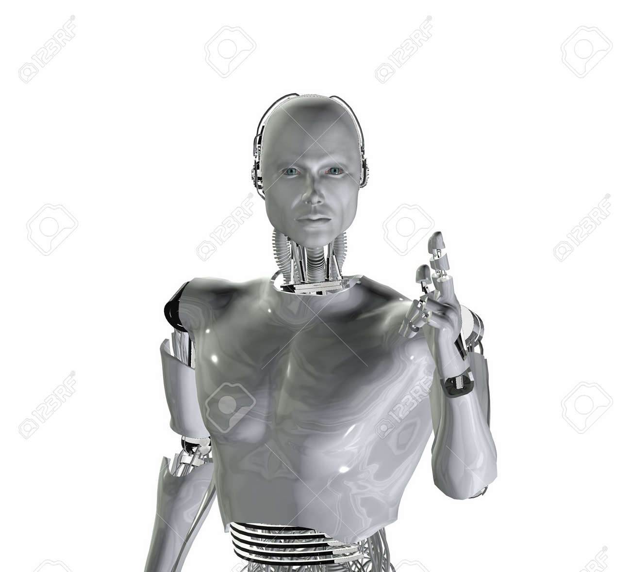 android, cybernetic intelligence machine in 3d Stock Photo - 5943930