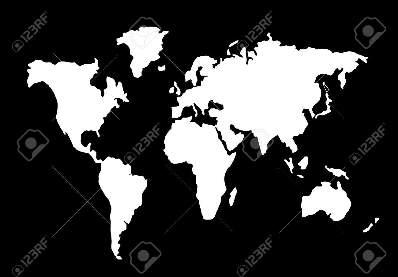 World Map Silhouette Black And White Royalty Free Cliparts Vectors