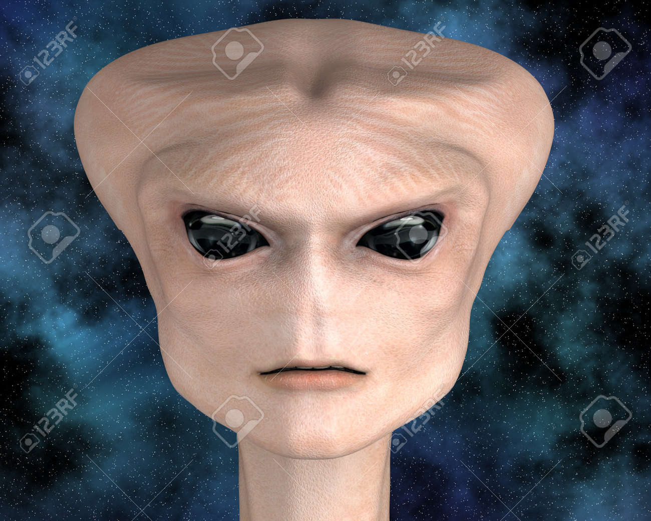 alien portrait with stars in background Stock Photo - 6881573