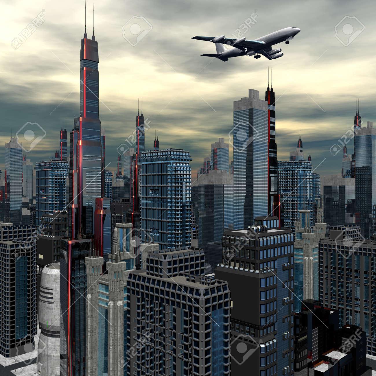 airliner silhouette above futuristic cityscape Stock Photo - 6881575
