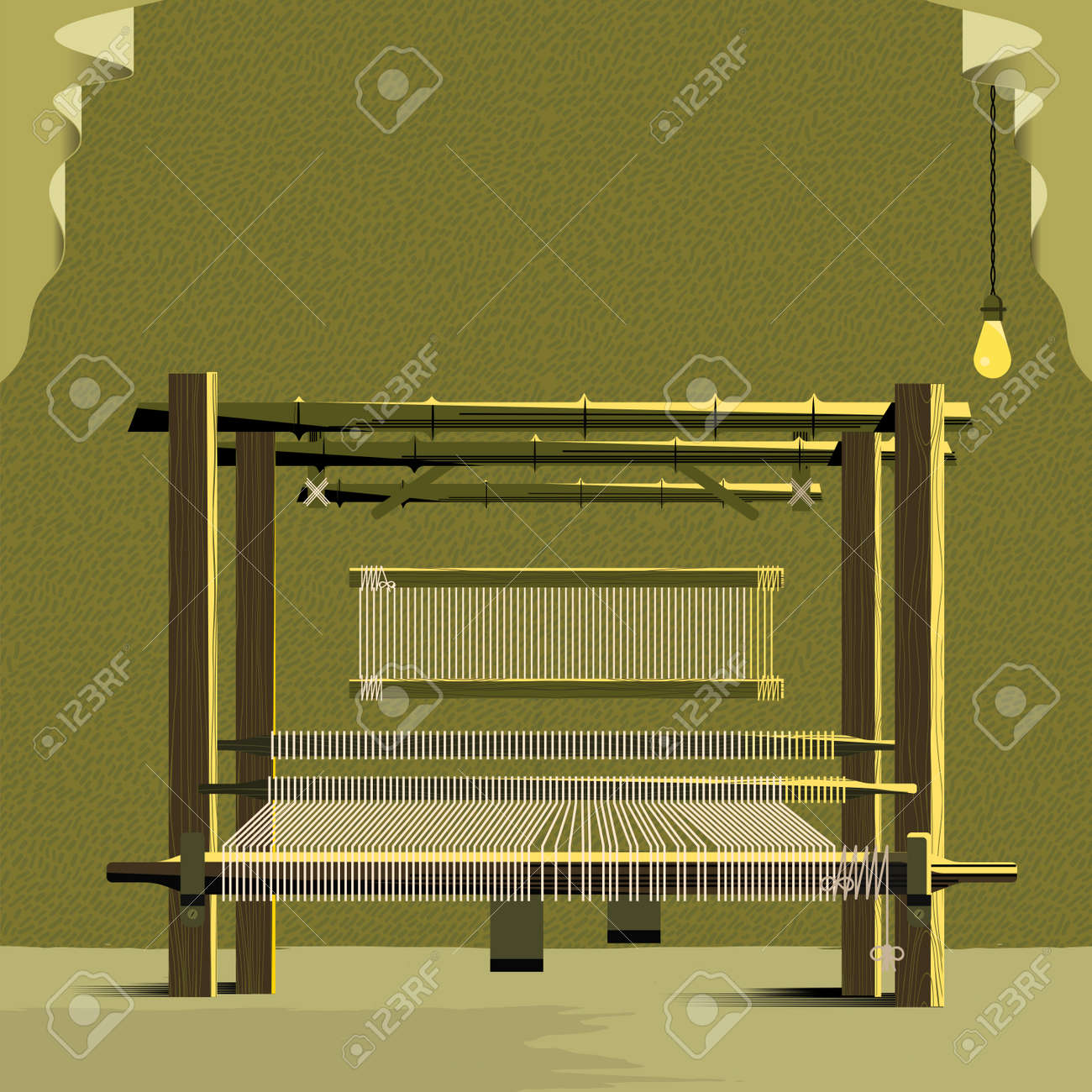 Vector Cloth Weaving Machine-Handloom