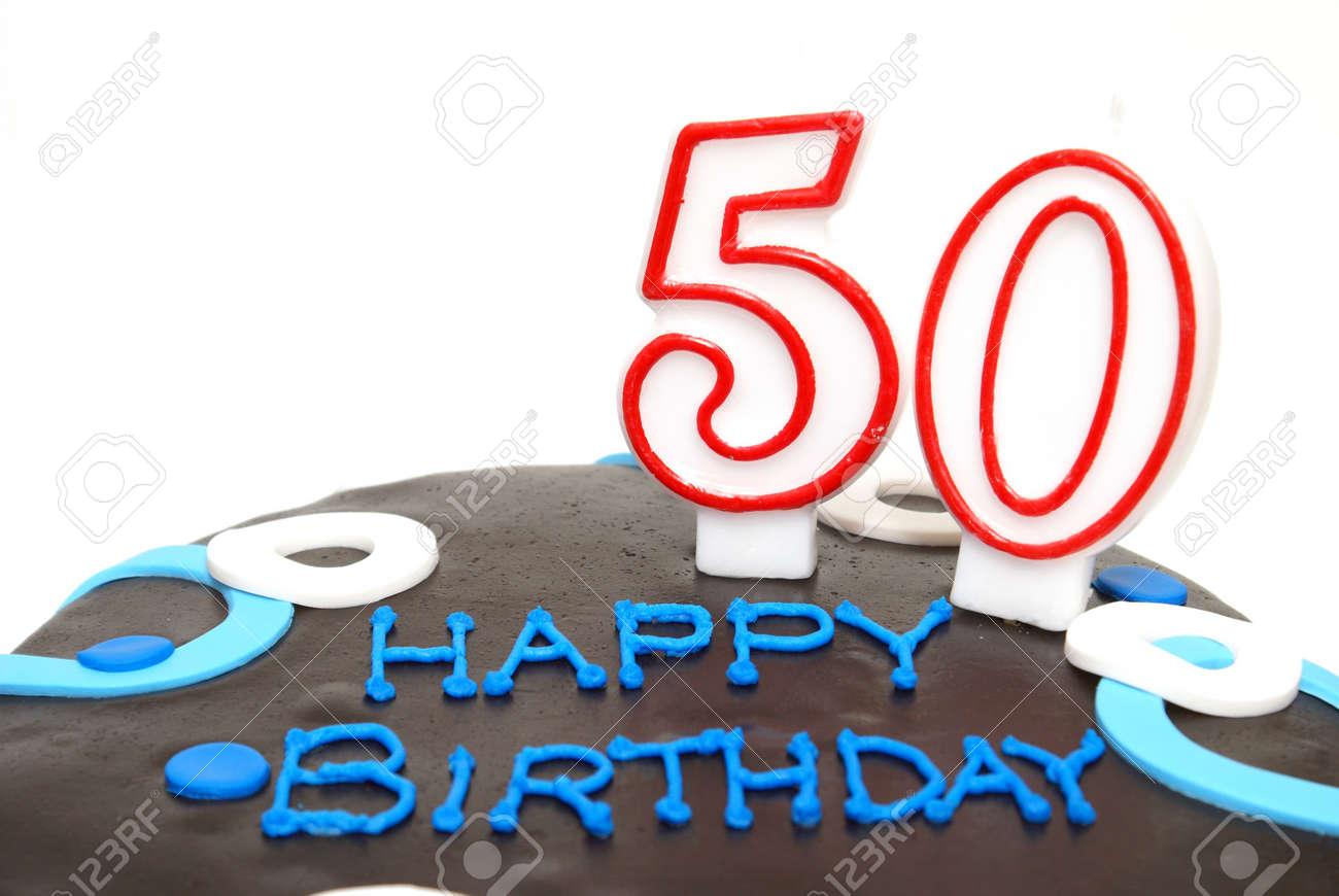 Ein 50th Birthday Cake Fur Einen Besonderen Jemand Standard Bild