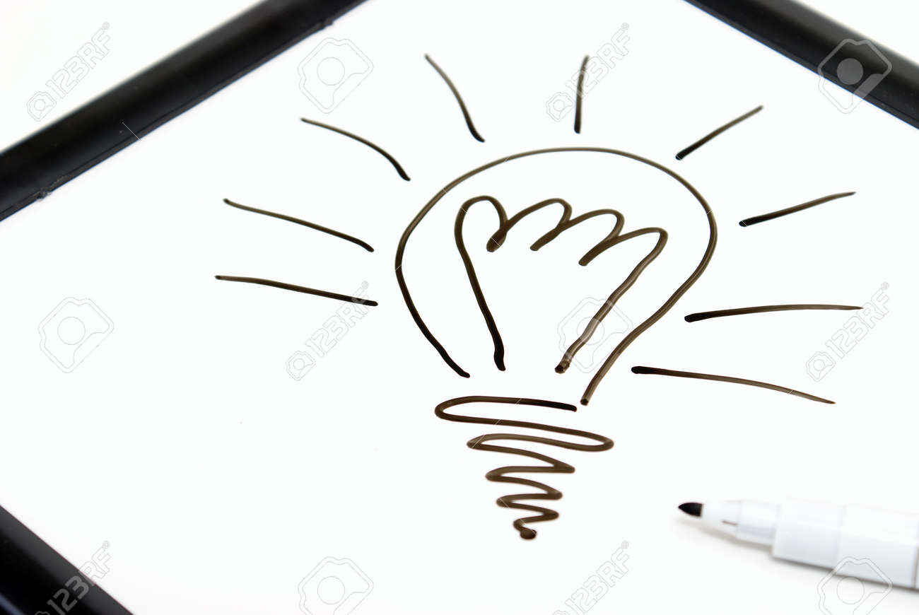 Someone has sketched a light bulb on a white board with ink. Stock Photo - 7617898