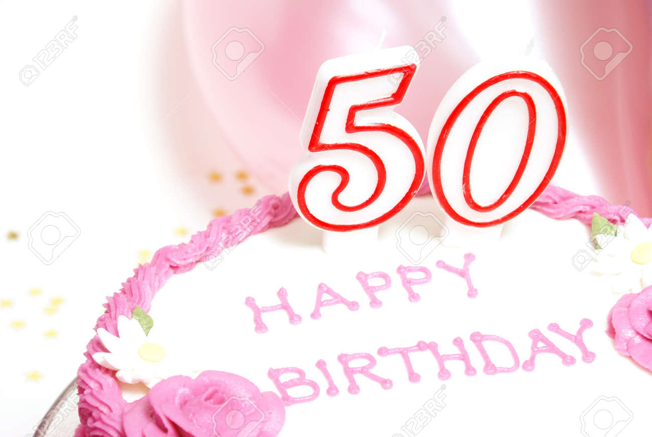 A 50th birthday cake for to celebrate someones special day. Stock Photo - 7617923