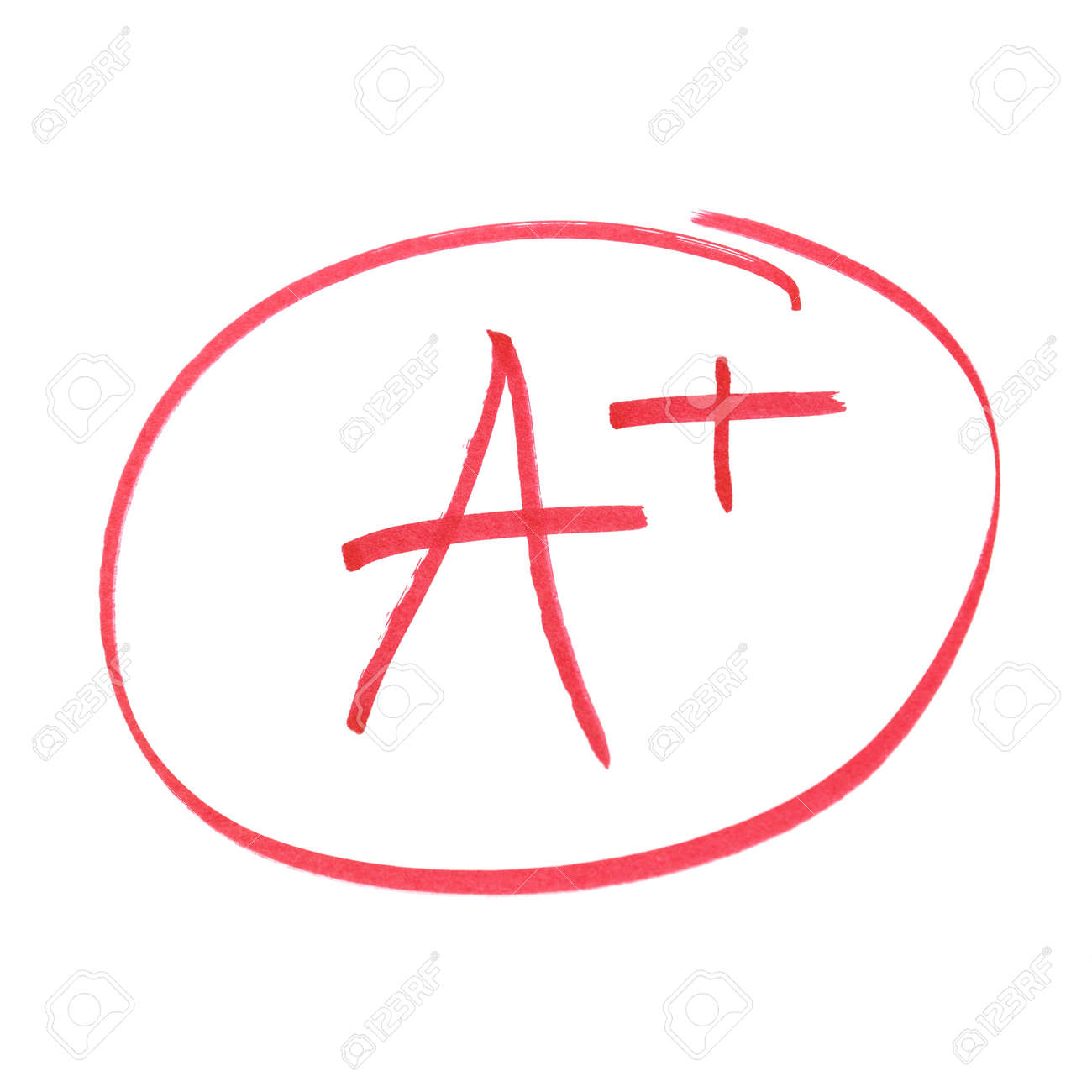 A handwritten grade for the highest achievements. Stock Photo - 9172892