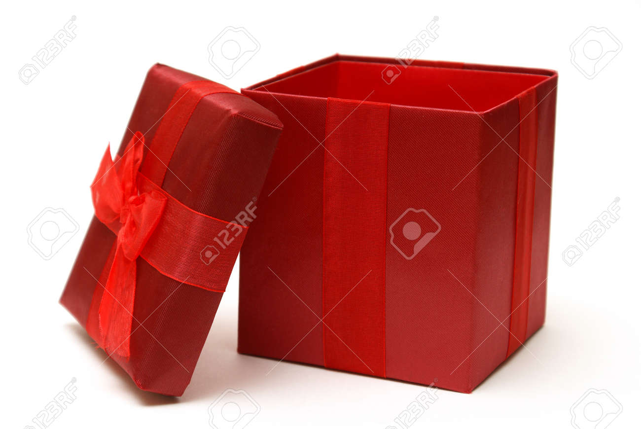 An empty red gift box with the lid off for easy insert of your merchandise in a photo editing program. Stock Photo - 9357670