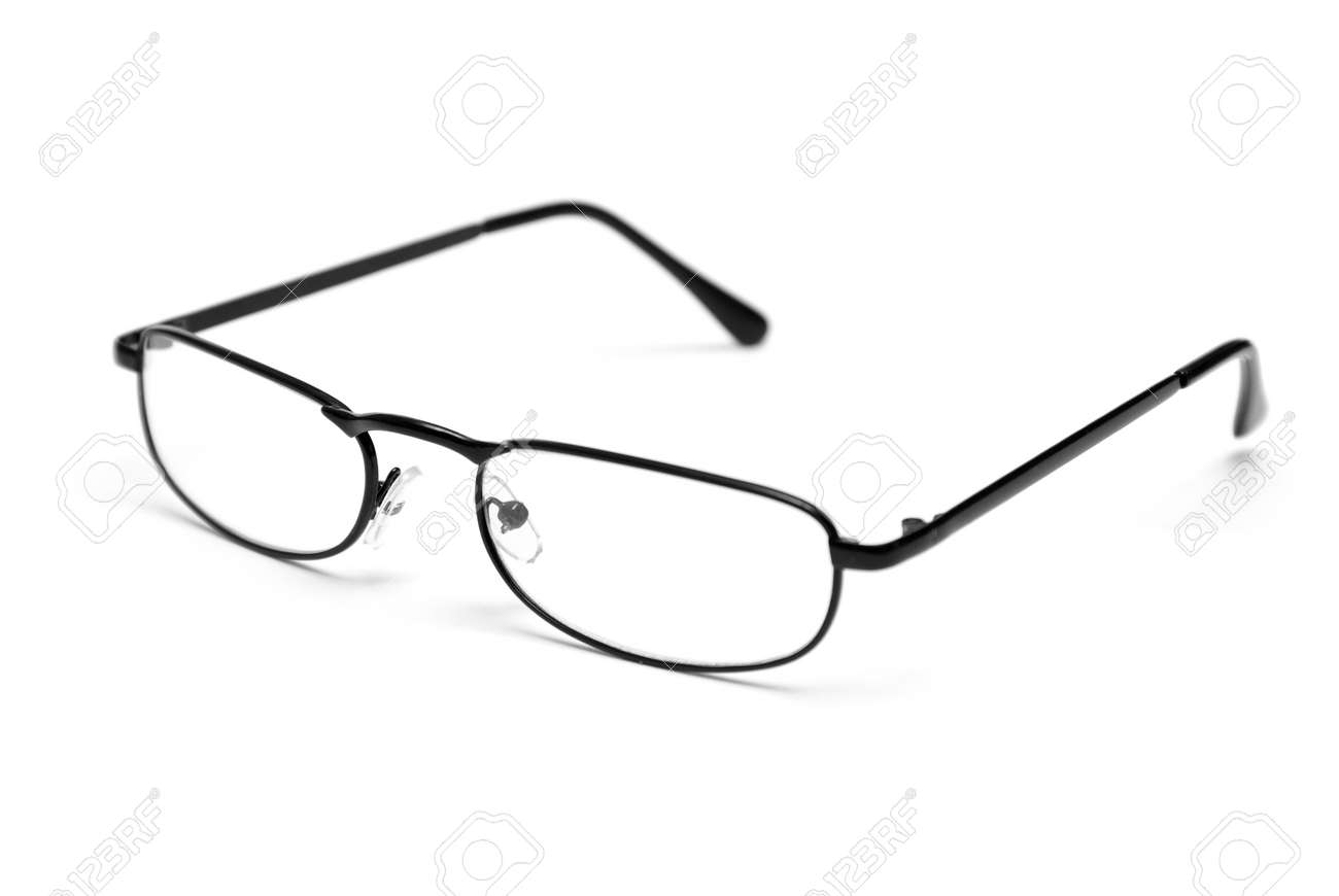 2e8c2d8cef1e A pair of sleek reading glasses isolated on a white background. Stock Photo  - 9602053