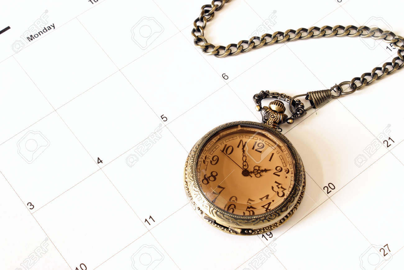 A clock and calendar together giving meaning to such concepts as time management and various others. Stock Photo - 10606918