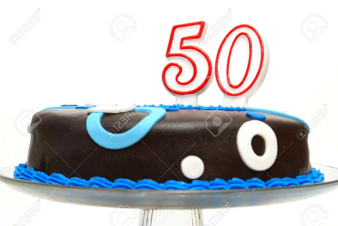 A Birthday Cake For Someone At The Age Of 50 Stock Photo
