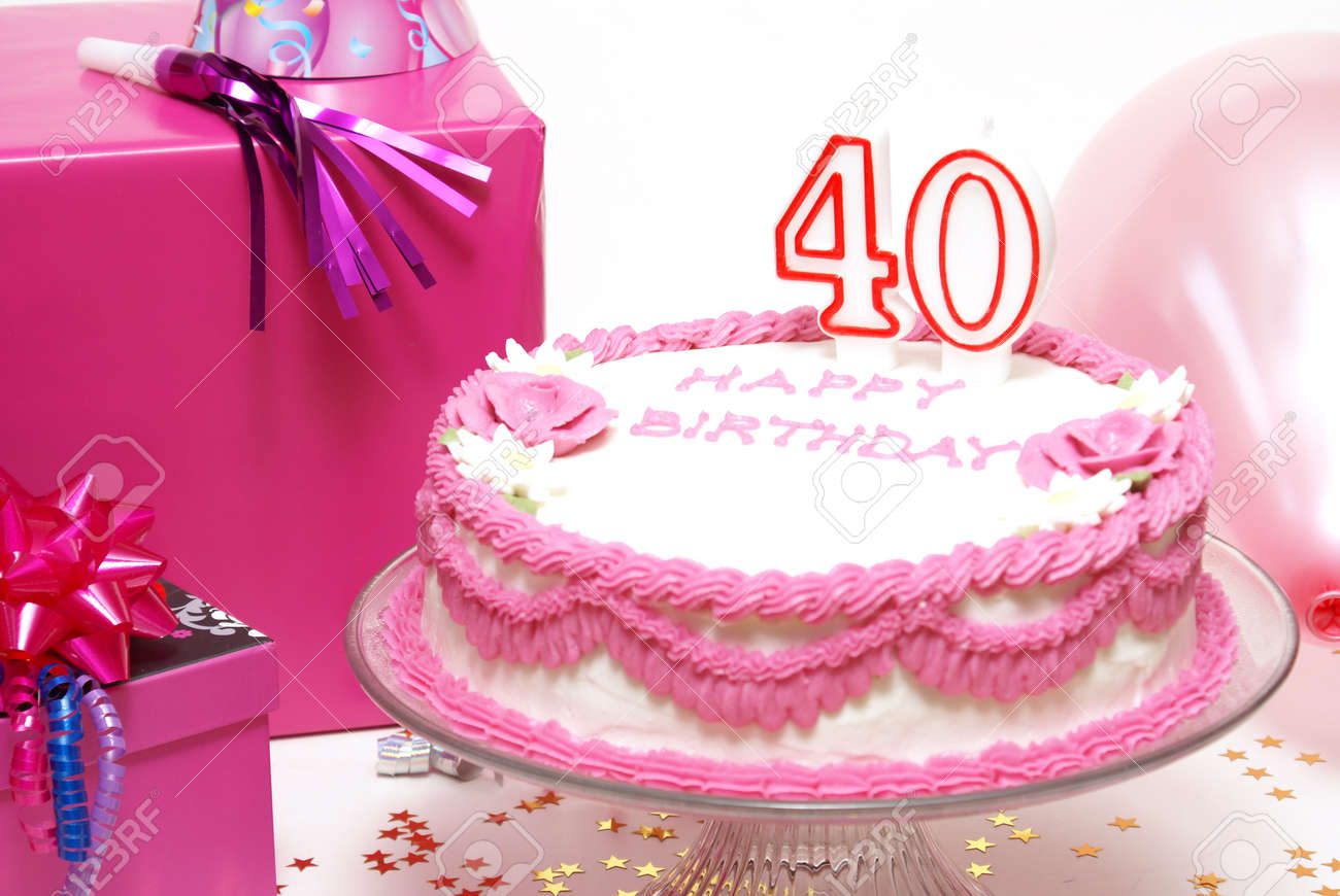 Astounding A 40Th Birthday Cake To Celebrate Someones Special Day Stock Funny Birthday Cards Online Inifodamsfinfo