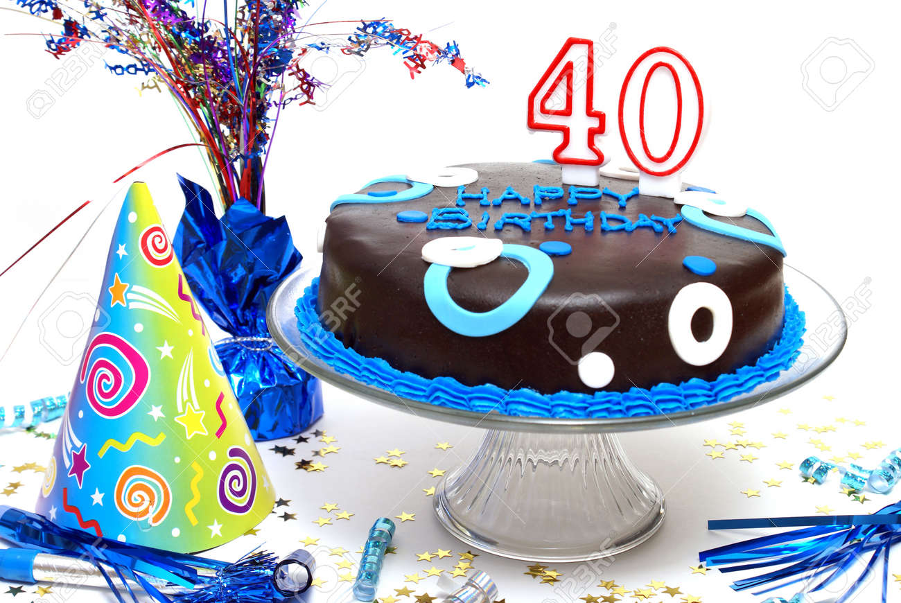 A Birthday Cake For Someone At The Big 40 Stock Photo