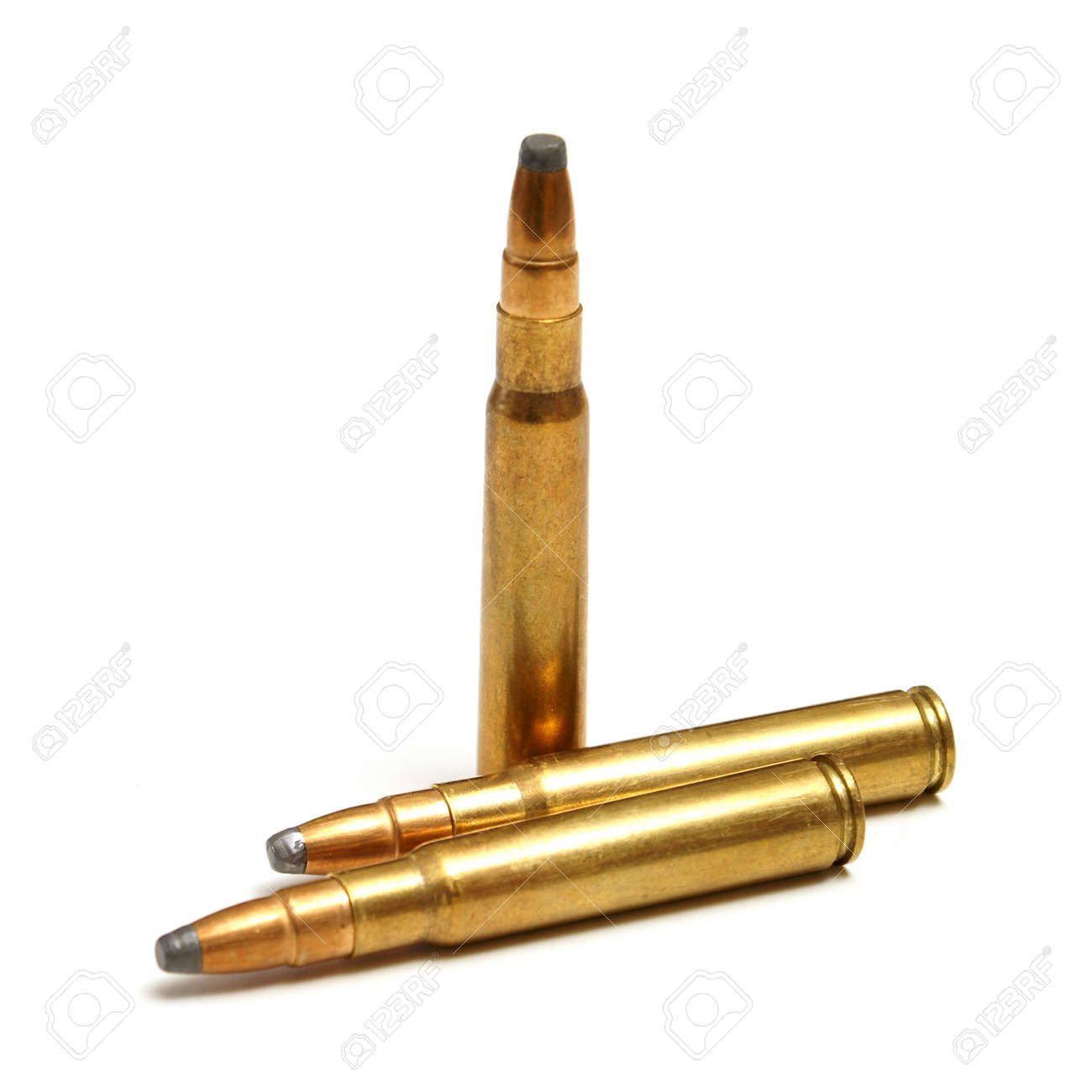 An isolated shot of three bullets on white. Stock Photo - 16401249