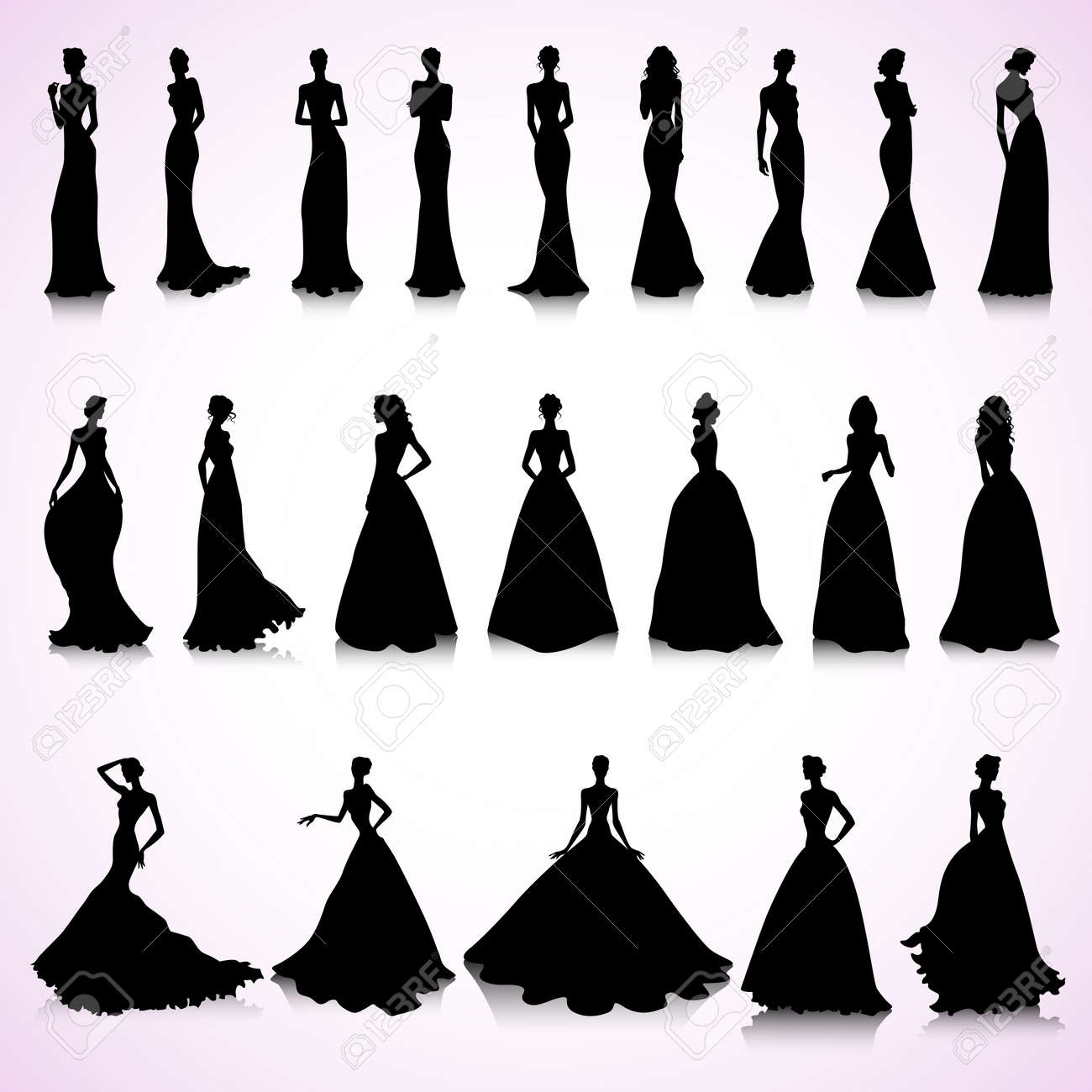 Set Of Female Silhouettes In Wedding Dresses Royalty Free Cliparts