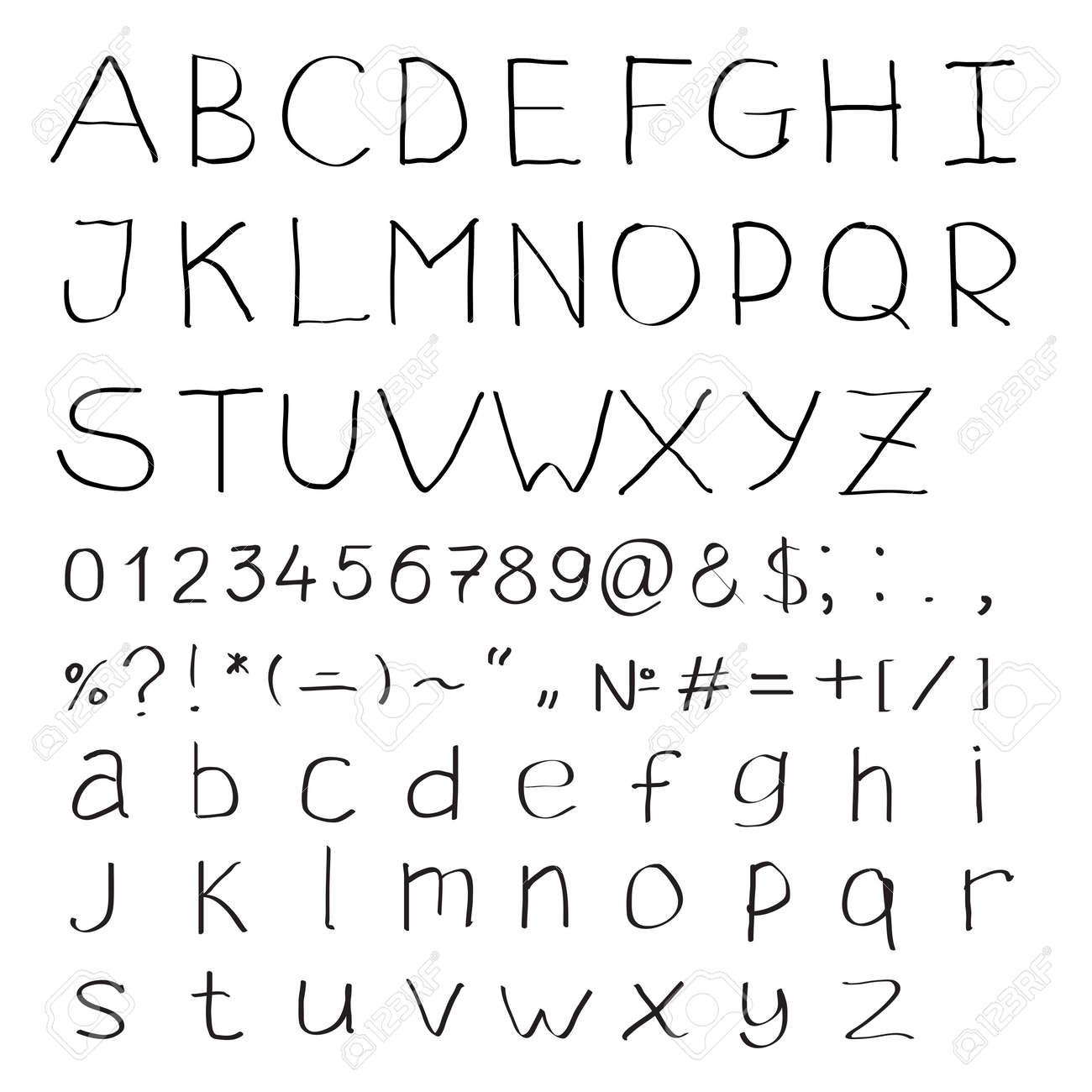 Handwritten Alphabet Of Roman Letters And Modern Symbols Stock Vector