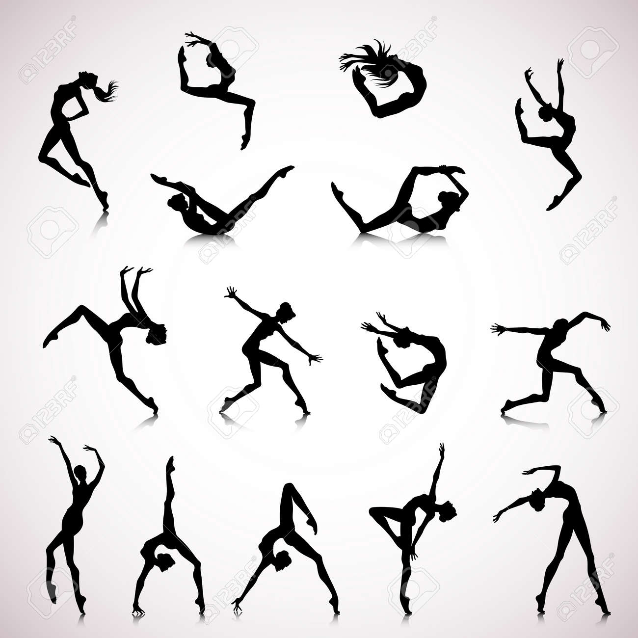 Set Of Female Silhouettes Dancing In Modern Style Royalty Free ...
