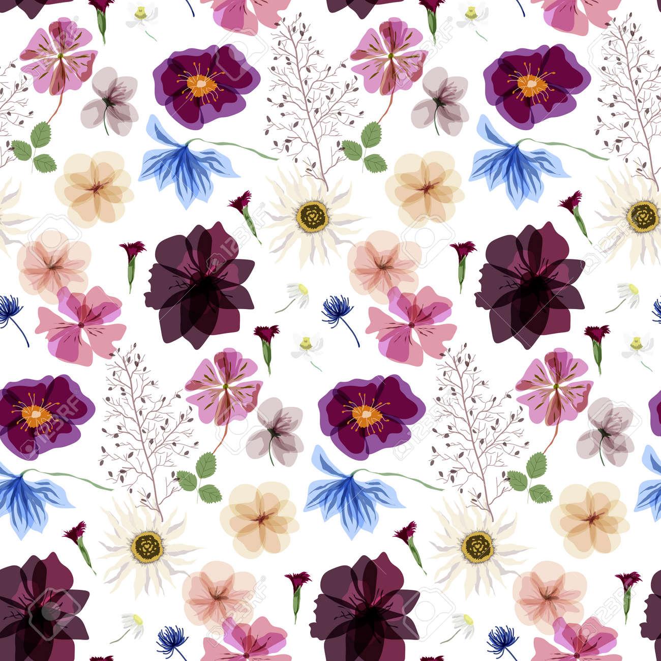 ドライフラワーやハーブの植物コレクションのシームレス パターンの