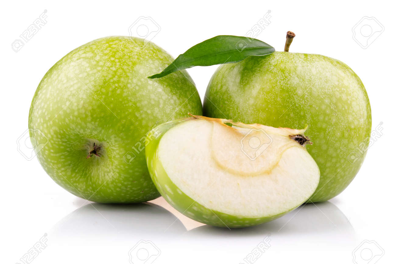 Ripe green apple with slices isolated on white background Stock Photo - 9621646