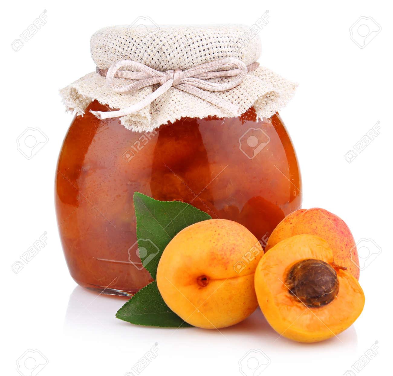 Apricot jam isolated on white background Stock Photo - 9969809