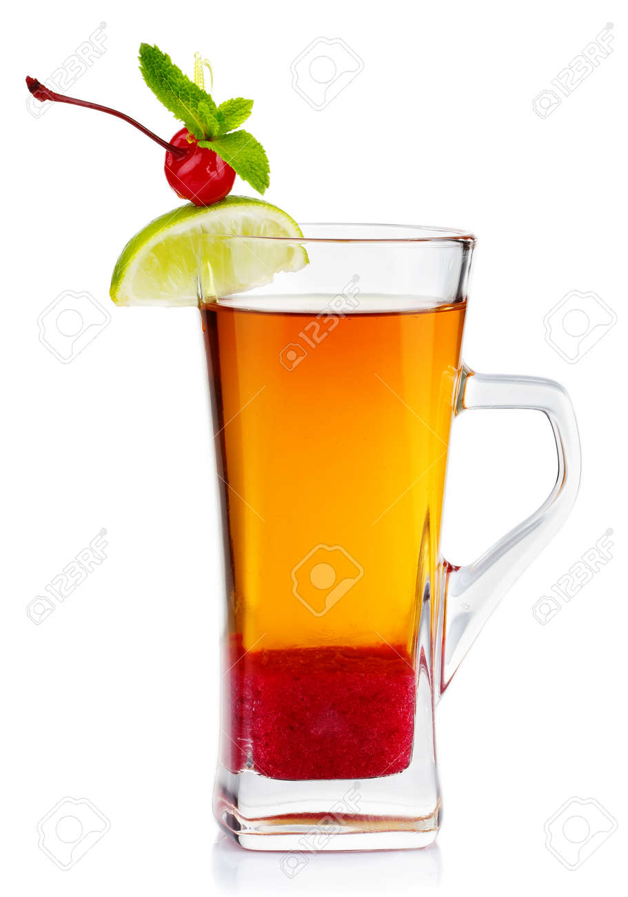 Glass of hot fruit tea with fresh mint, lime and cherry berry isolated on white Stock Photo - 23948870