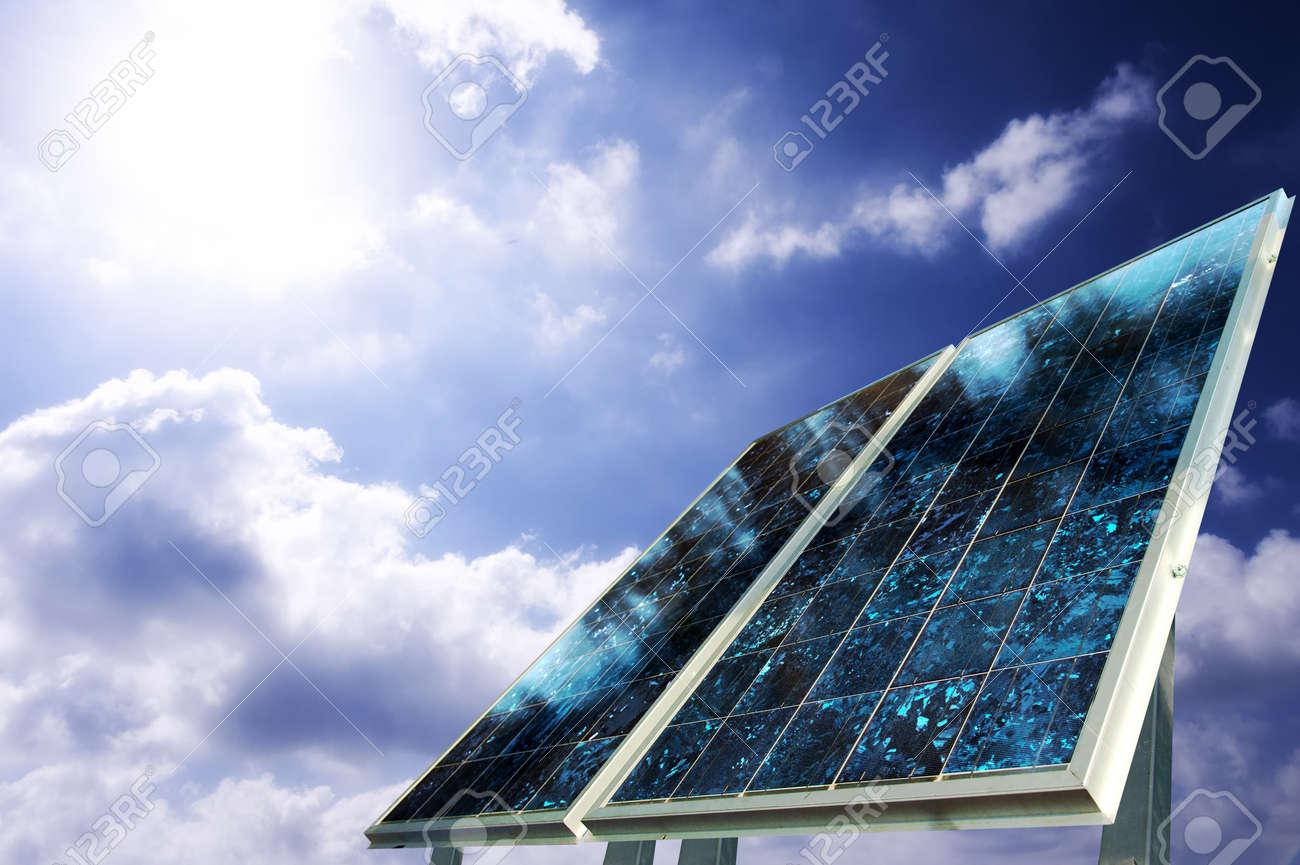 Solar panel with sun ray Stock Photo - 7656254