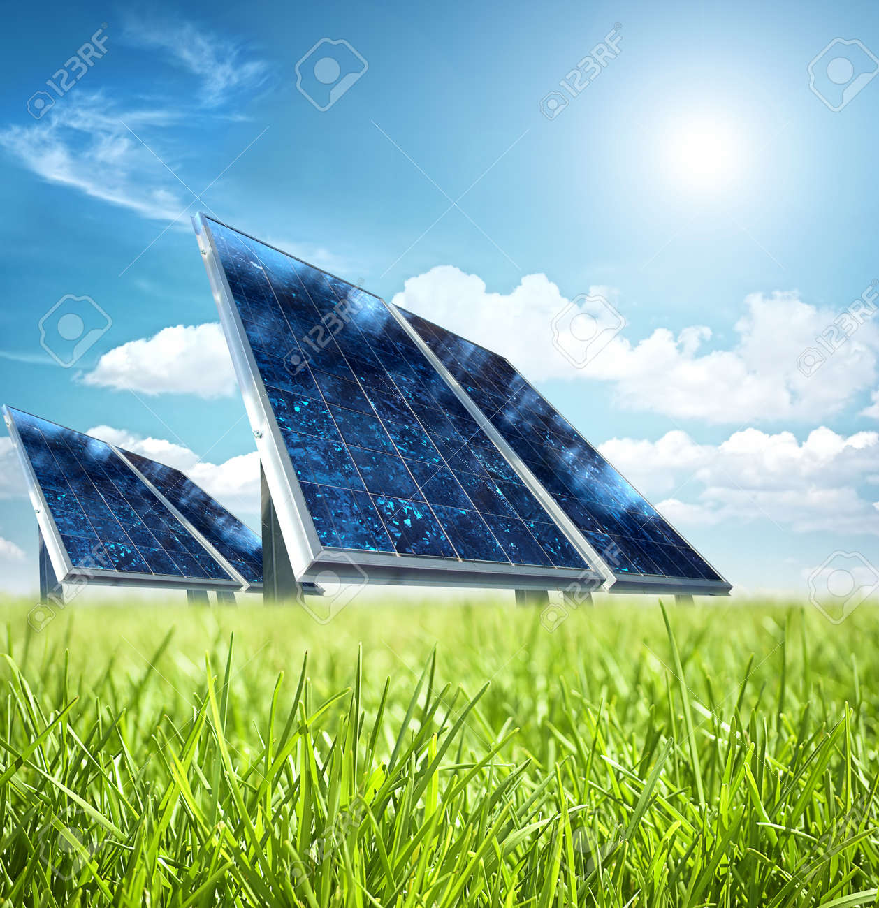 Solar panel in the green - 7904982