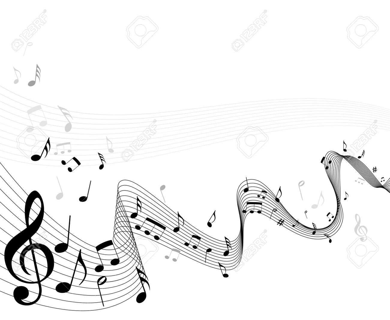 Musical notes staff background on white vector by tassel78 image - Sheet Music Abstract Music Notes Sheet Background