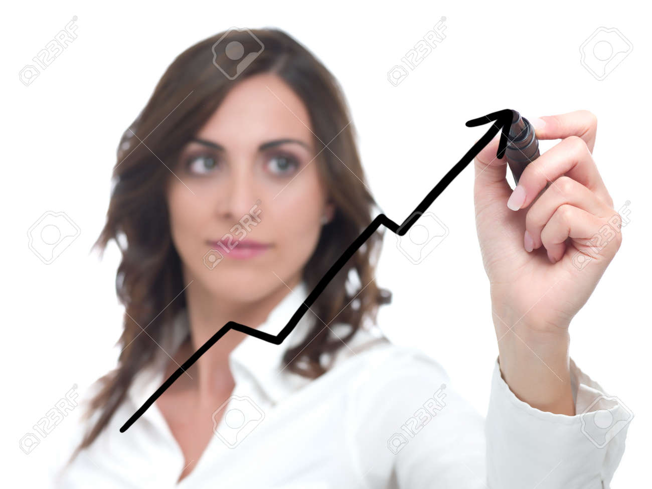 Businesswoman drawing statistics in the glass Stock Photo - 9238517