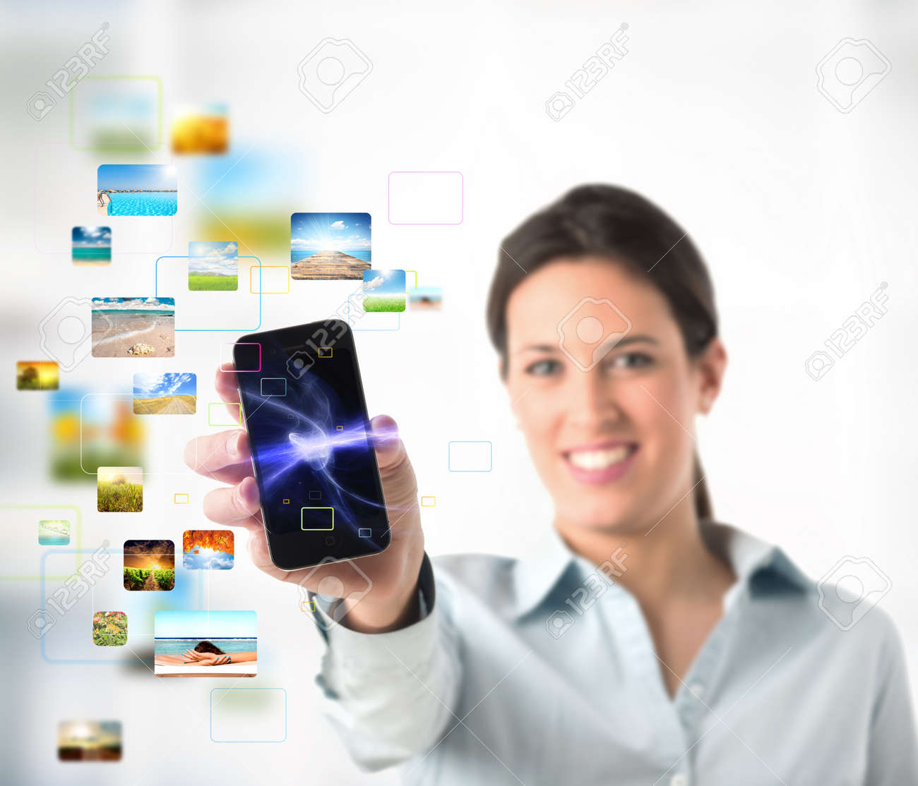Business girl with streaming mobile phone Stock Photo - 9281202