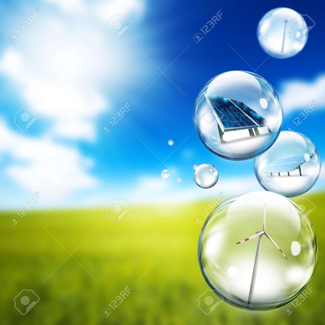 Solar panel and wind turbine inside soap bubbles - 9576478