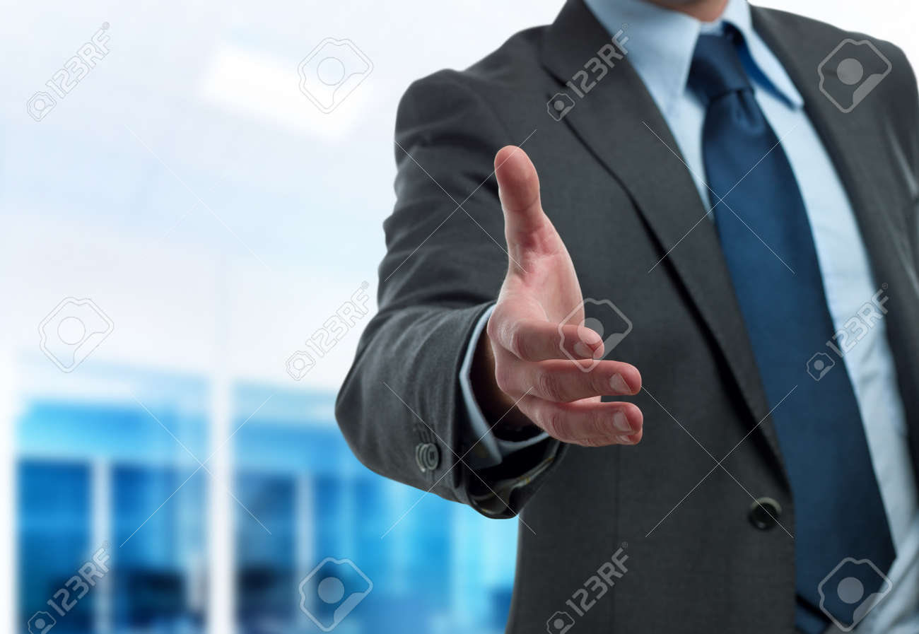 Modern businessman ready to handshake Stock Photo - 12032951