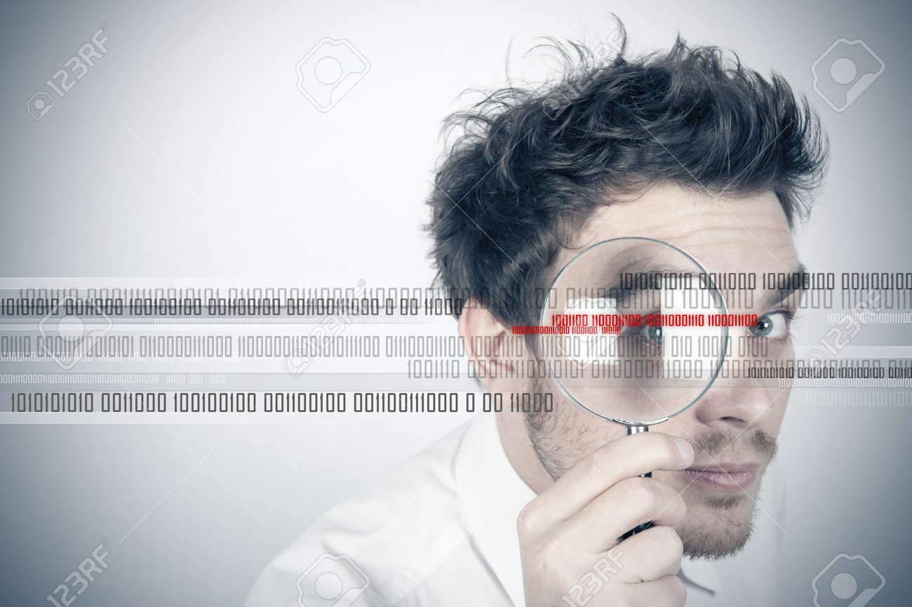 Businessman looks for the virus Stock Photo - 12918517