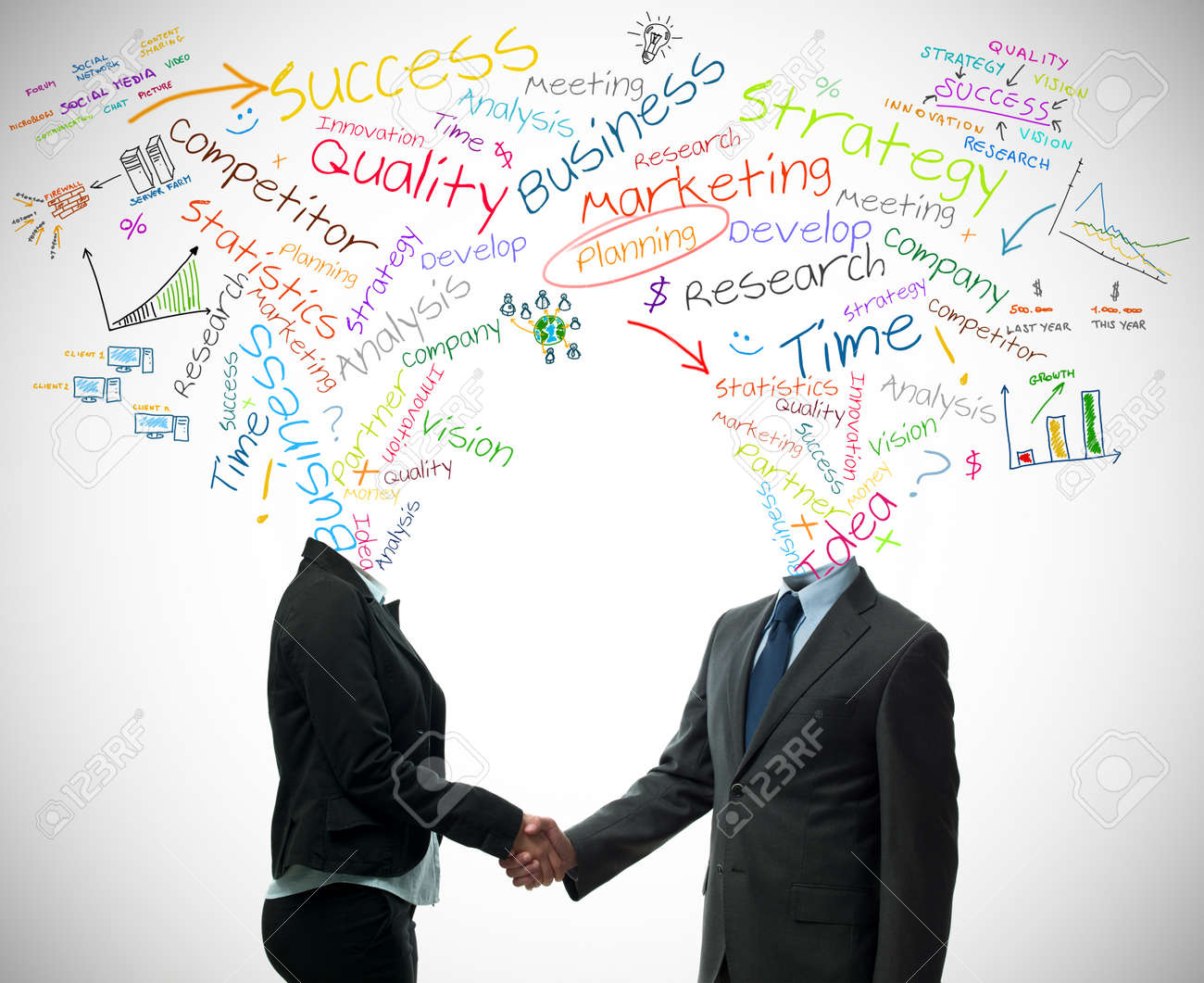 Business partner handshake with business words concept Stock Photo - 13120522