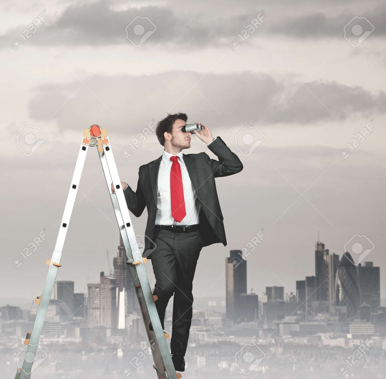 Businessman looking for new business Stock Photo - 13846583