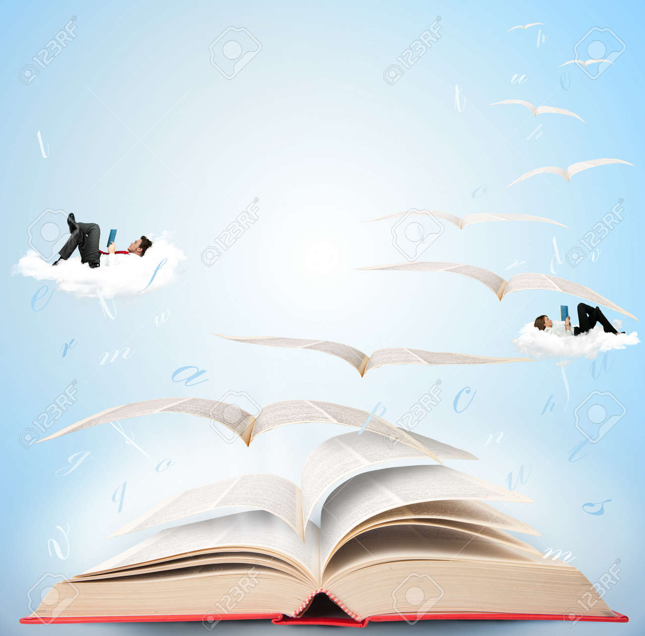 Fly with fantasy reading a book Stock Photo - 13947250