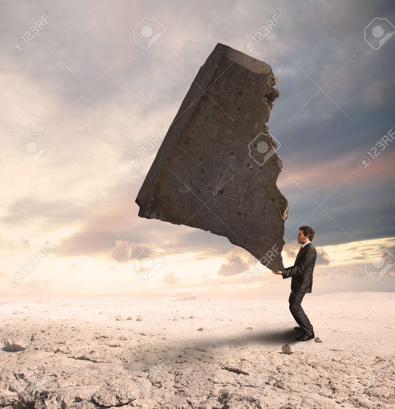 Concept of a businessman that challenges the difficulties Stock Photo - 14734978