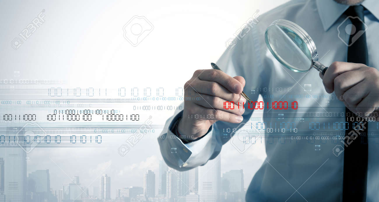 Businessman search the virus in a binary code Stock Photo - 15640659