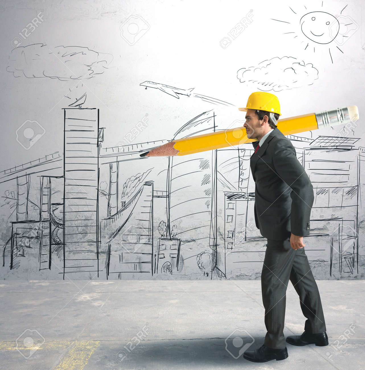 concept of architect and his sketches stock photo picture and