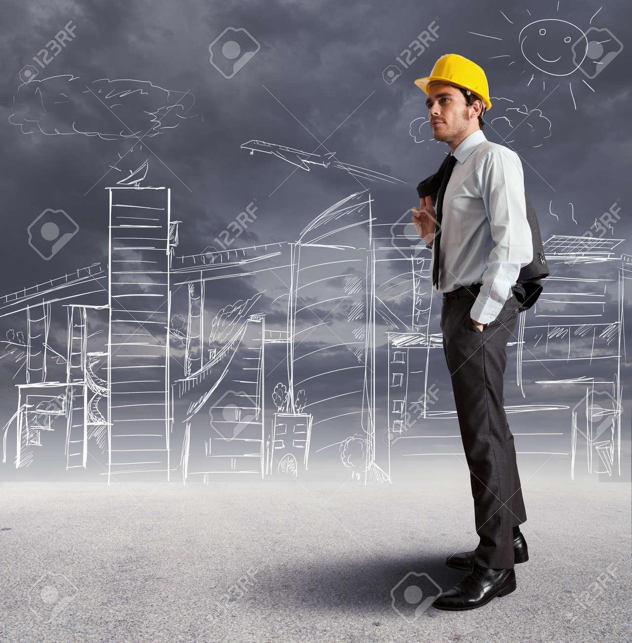Concept of futuristic architect sketch Stock Photo - 15948585