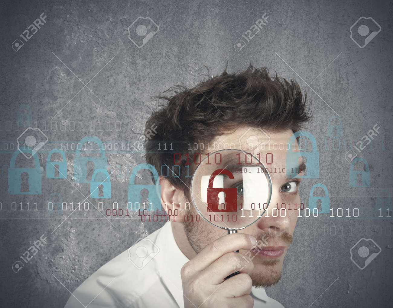 Concept of businessman that searches  virus Stock Photo - 16828222