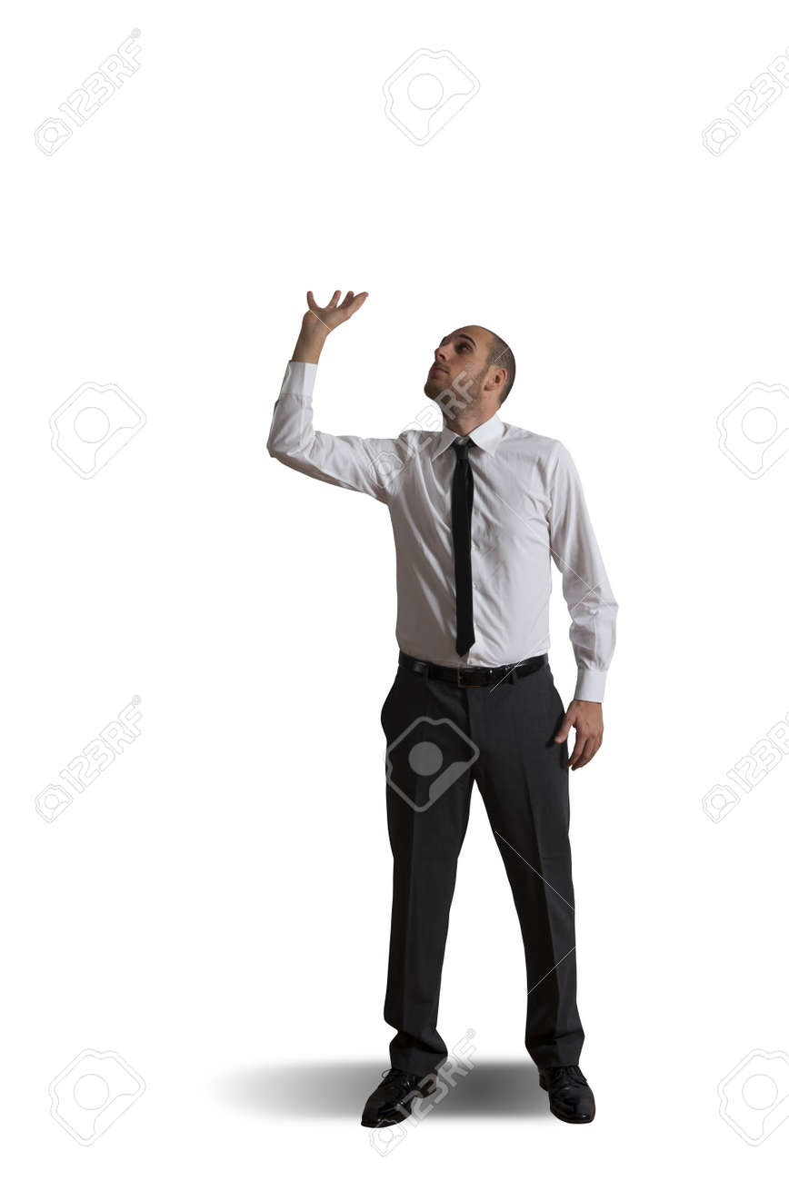 Business man holding something heavy above head Stock Photo - 17388136