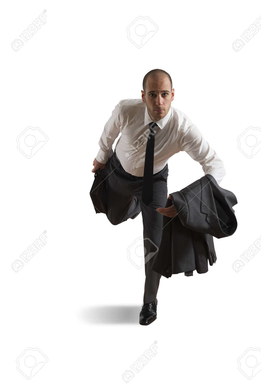 Running businessman on white background Stock Photo - 18085650