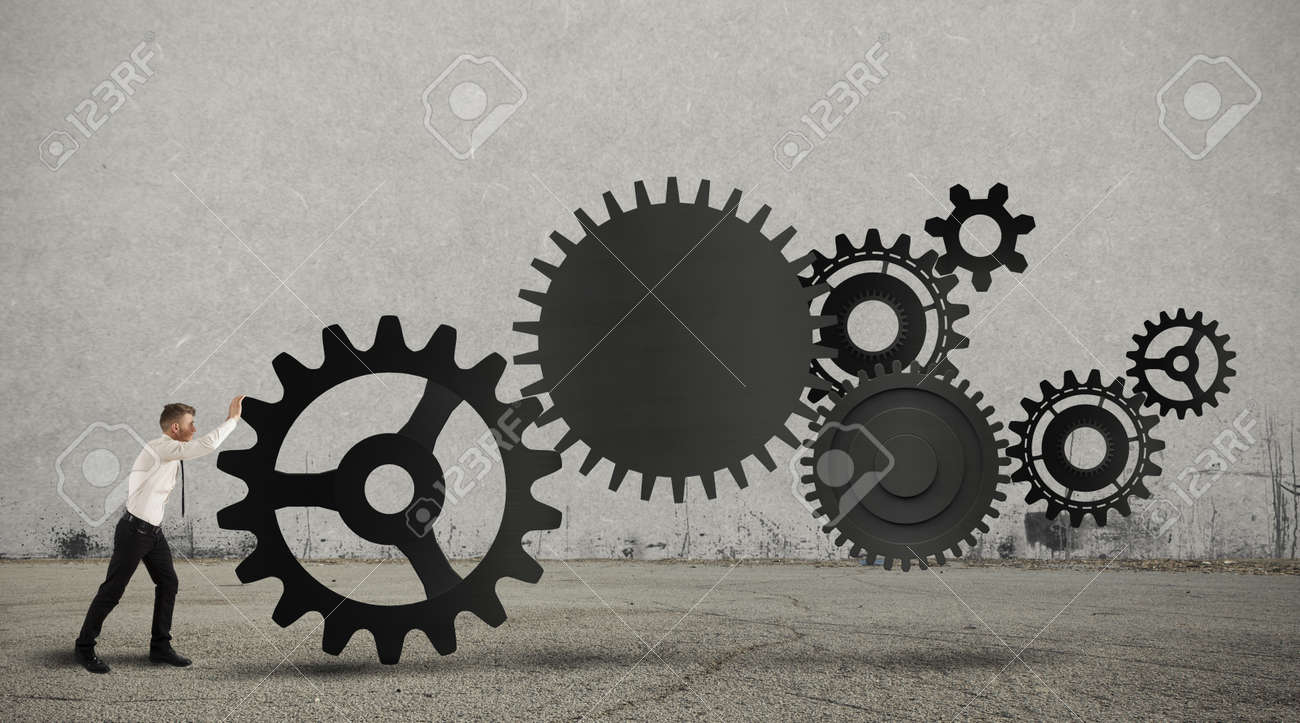 Concept of business in action with gear system Stock Photo - 18297476